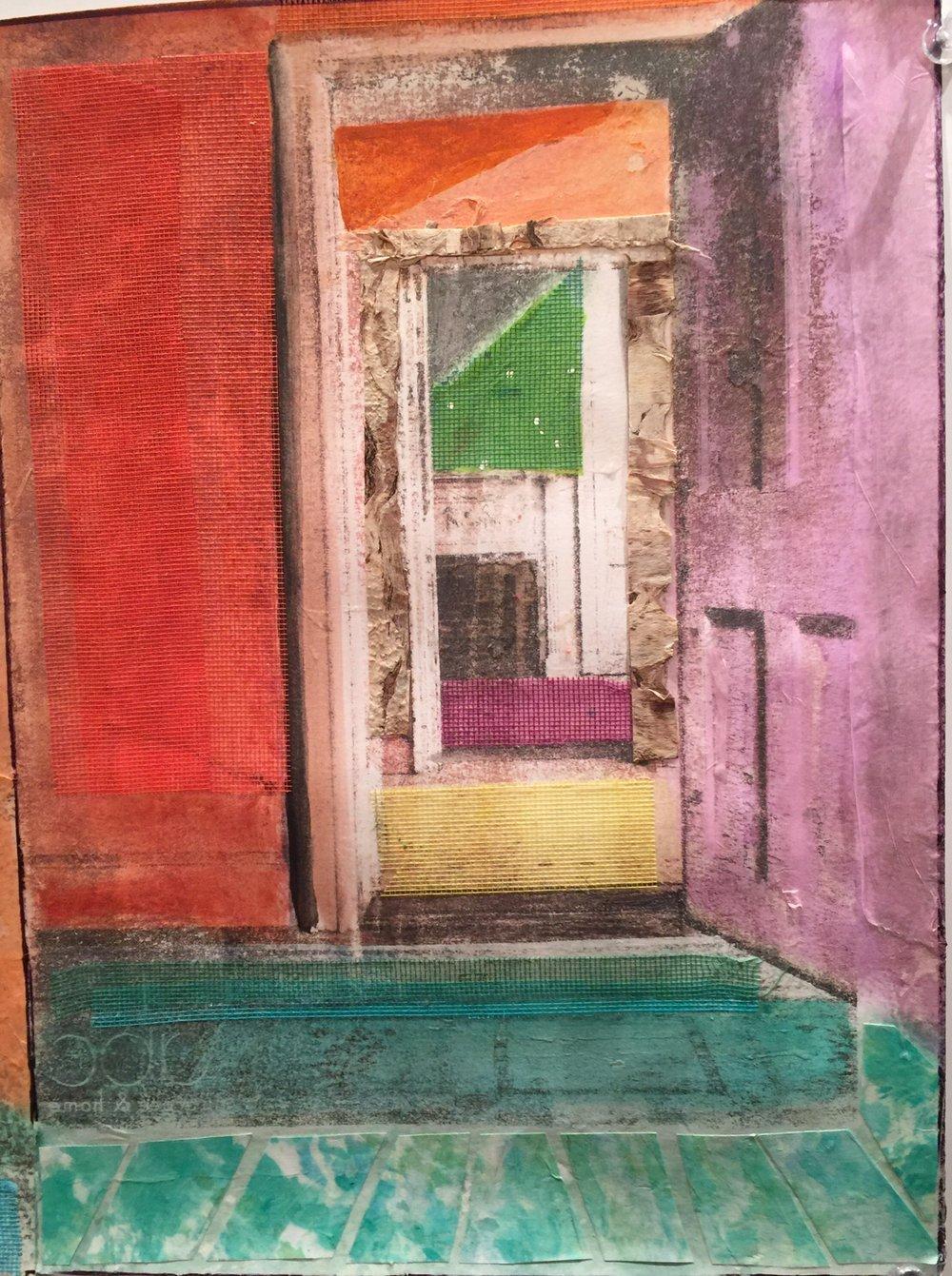 """Open Purple Door   Summer 2016   Transfers, screening, acrylic paint   9"""" x 12"""""""