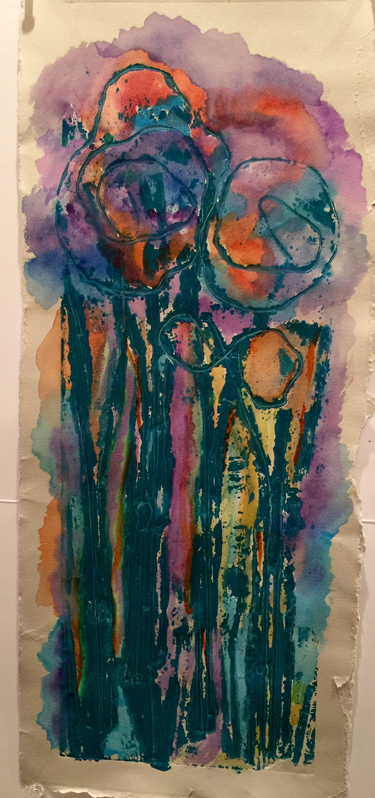 "Smiling Flowers   Spring 2016   Mono print and acrylic paint   19"" x 22"""