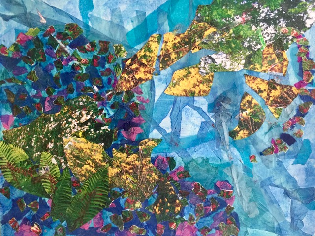 """Giverney Memory 1  Spring 2017 Transferred images, cut up photographs, acrylic paint, tissue paper 11"""" x 14"""""""