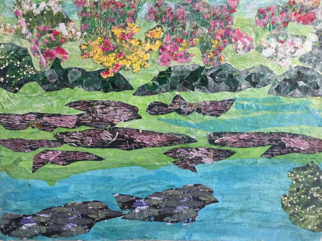"""Giverney Memory 5  Spring 2017 Torn photographs, acrylic paint, tissue paper on canvas 16"""" x 12"""""""
