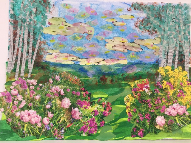 "Giverney Memory 6  Spring 2017 Original photographs, acrylic paint, tissue paper, wax crayons on paper 8"" x 24"""