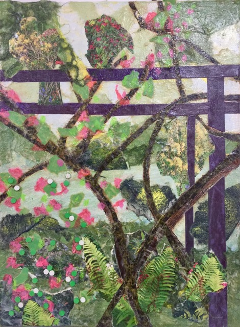 "Giverney Terrace  Spring 2017 Torn photographs, acrylic paint, tissue paper on canvas 11"" x 15"""