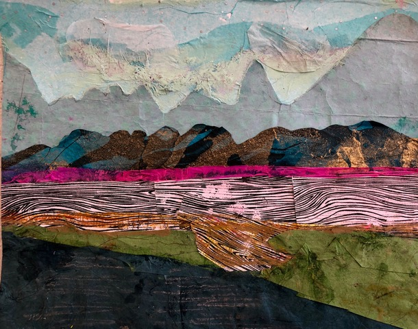 "Magenta Sunset  2018 Torn paper, tissue paper & original printed papers 9"" x 12"""