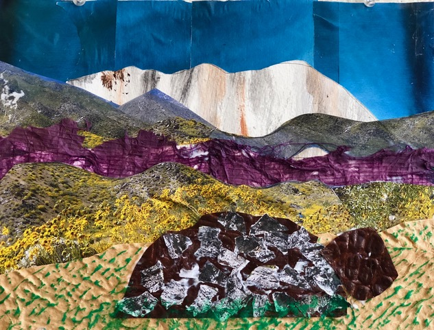 """White Mountain  2017 Torn up papers, photographs & magazines 11"""" x 14"""""""