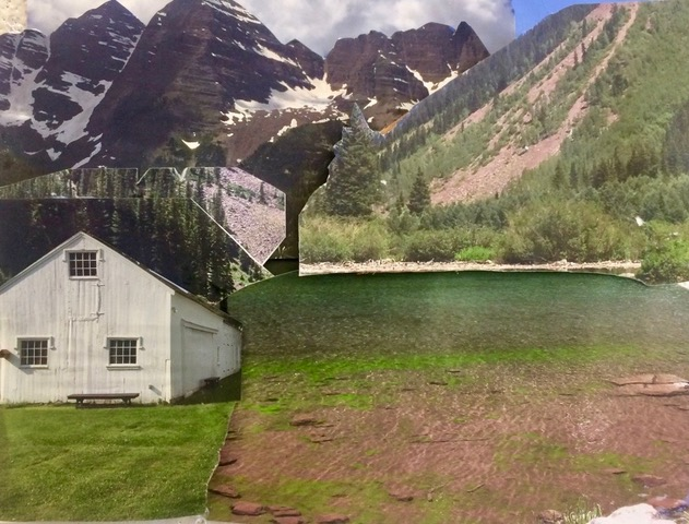 "House by the Mountain Lake  2017 Torn up original photographs 11"" x 14"""