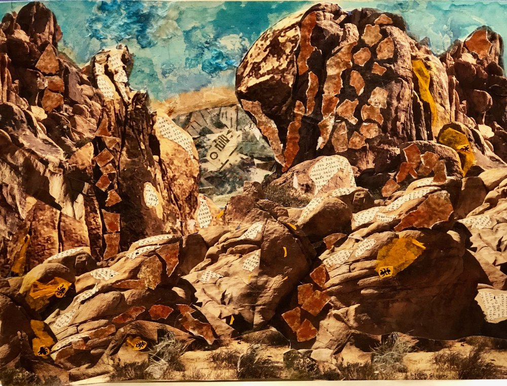 "Joshua Tree Magnificence  2018 Cut up original photographs, torn papers & watercolor 18"" x 24"""