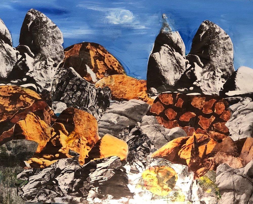 "Twin Peaks #2  2018 Cut up original photographs & acrylic paints 18"" x 24"""