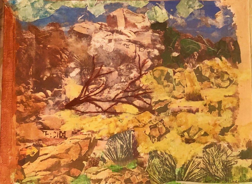 "Burnt Fallen Tree in the Desert  2018 Torn original photographs , acrylic paints & twigs 9"" x 12"""