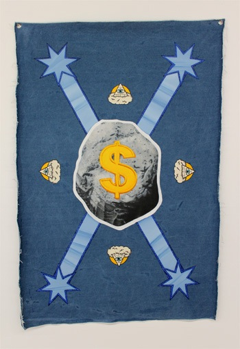 Australian Mining Federation, Denimism @West Space. Oil on denim, 2012