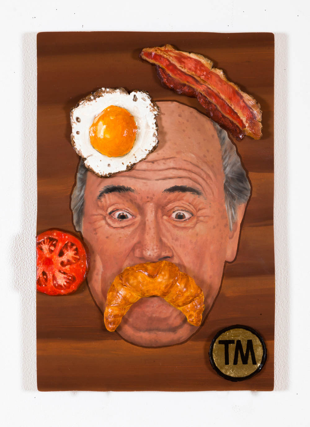 Sepp Blatter Platter, @West Space Fundraiser, oil on board and clay 2014/15. Photograph taken by Christo Crocker