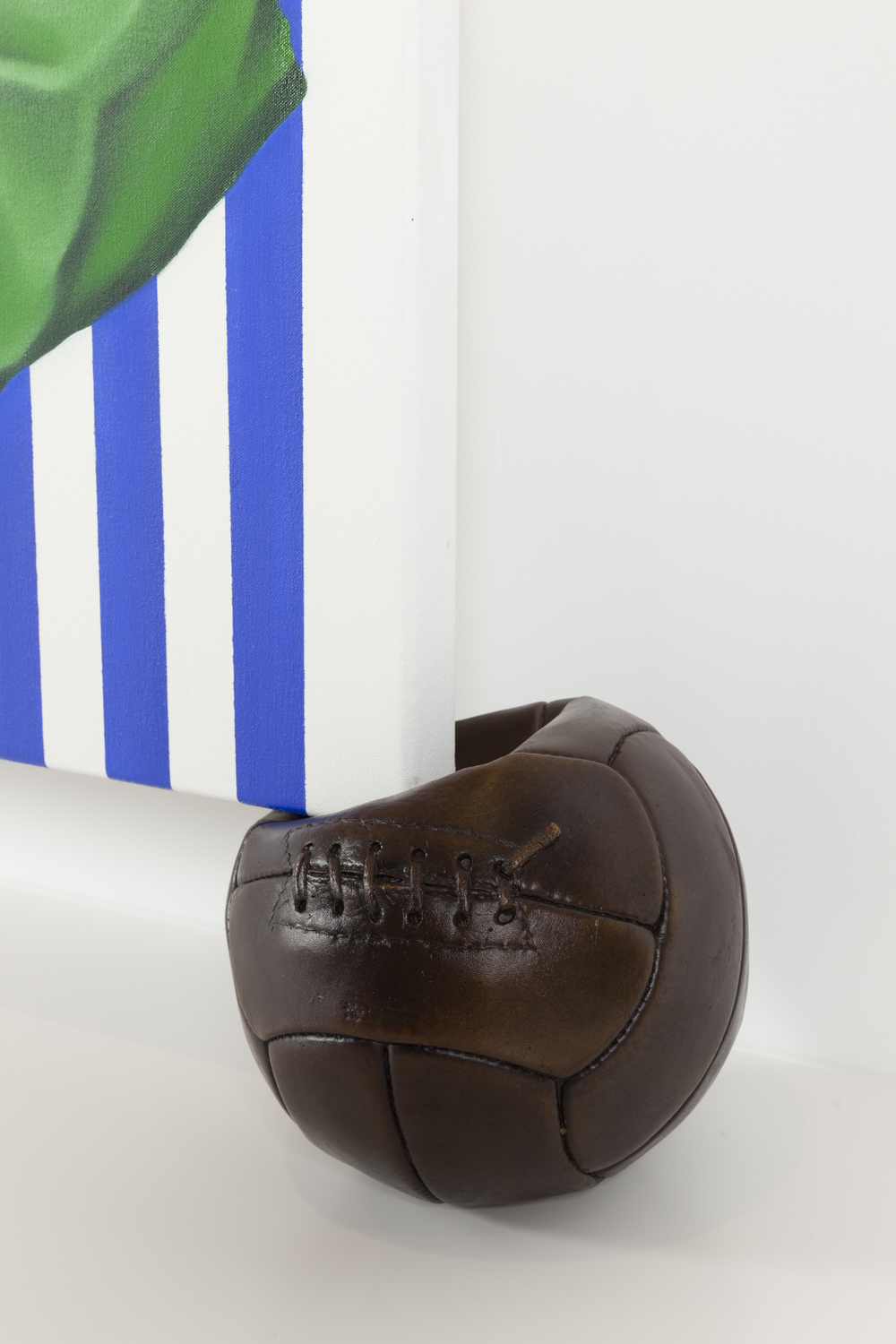 Copa close up, (Artbank/Gertrude Contemporary commission) 2015. Oil on canvas, cast bronze football.