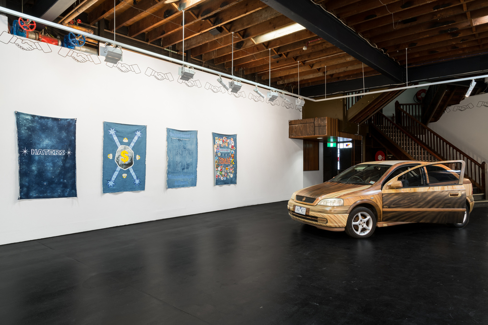 Denimism with Tony Garifalakis, 2012 & Colleen's Caraoke Astra, oil on car, 2015-16. Image courtesy of Christo Crocker