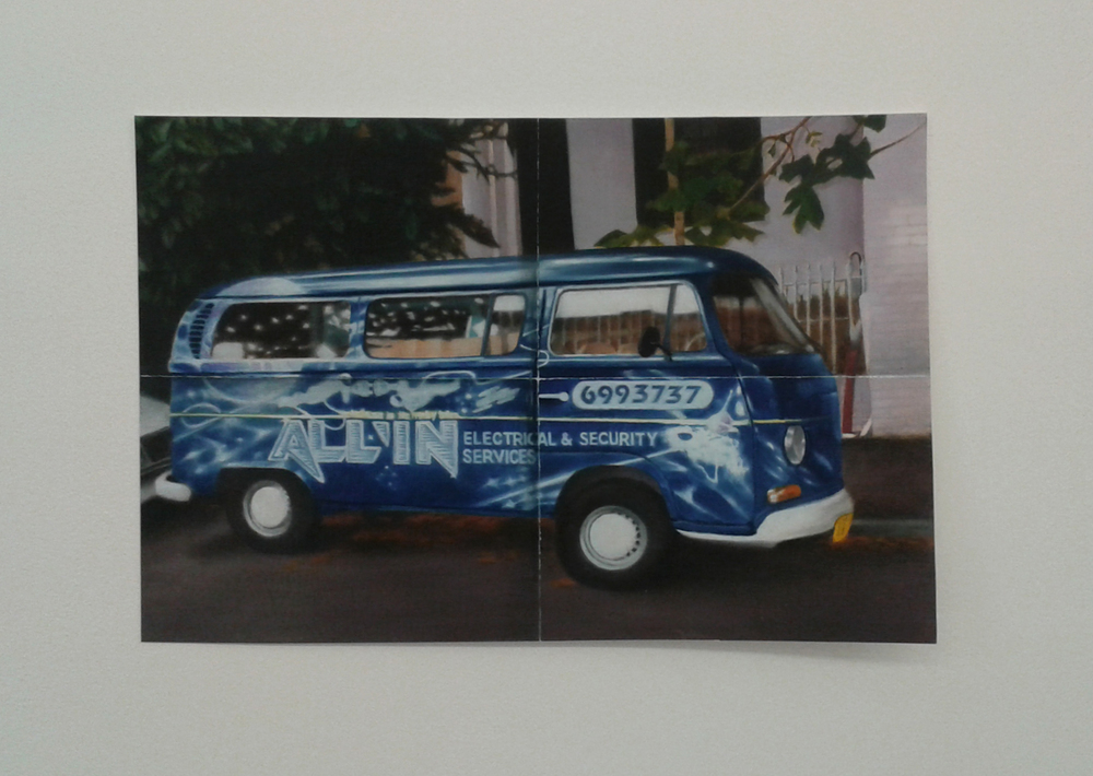 'Uncle Paul's van painted by Uncle Ant, painted by me', Cathedral @ BUS Projects, oil on paper, 2015