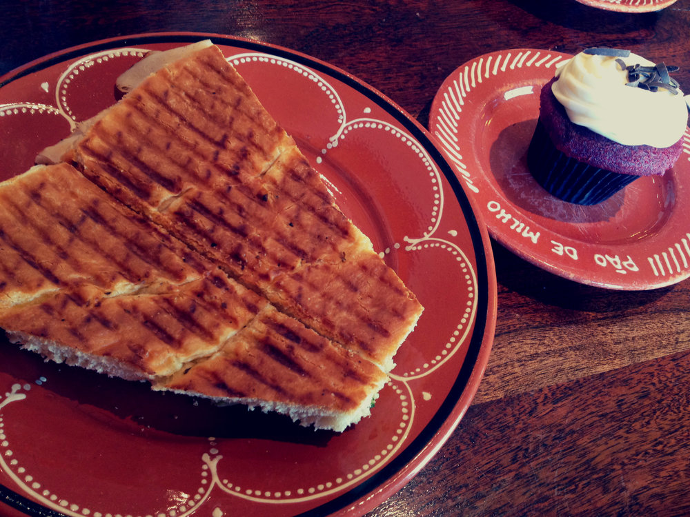 Panini and cupcake