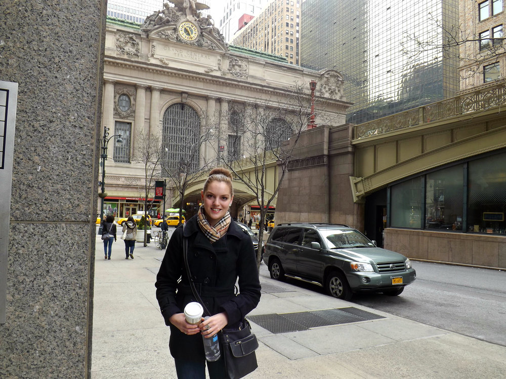 Standing in front of Grand Central Station.