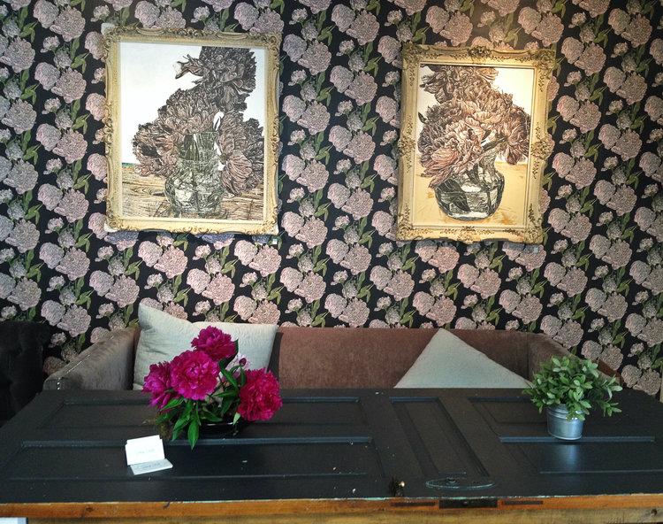 Door Table + Floral Wallpaper   Honey Bake Shop