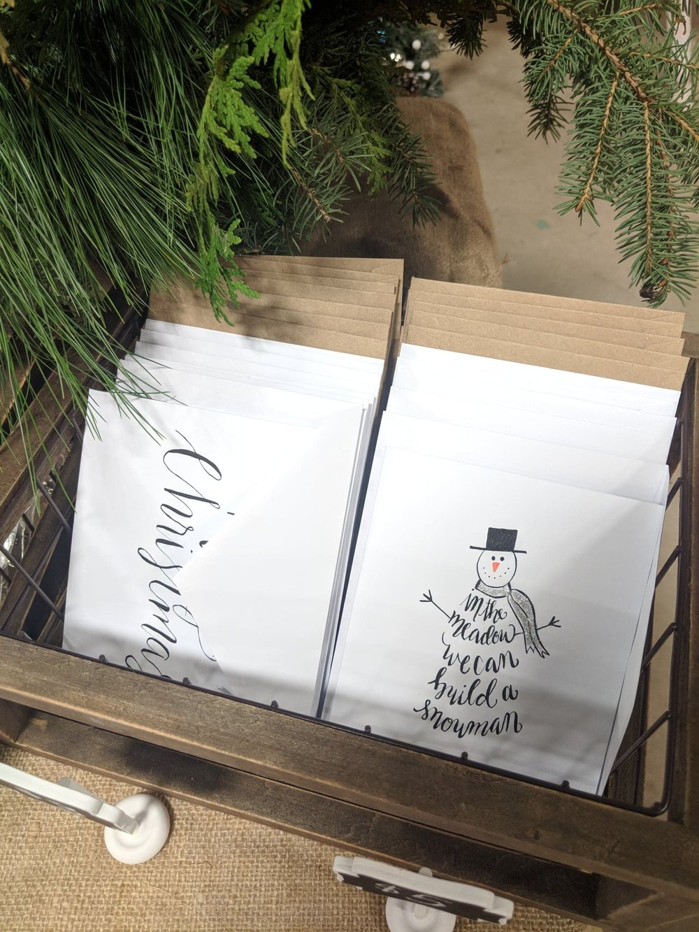 Handmade Christmas cards done by Kaitlyn