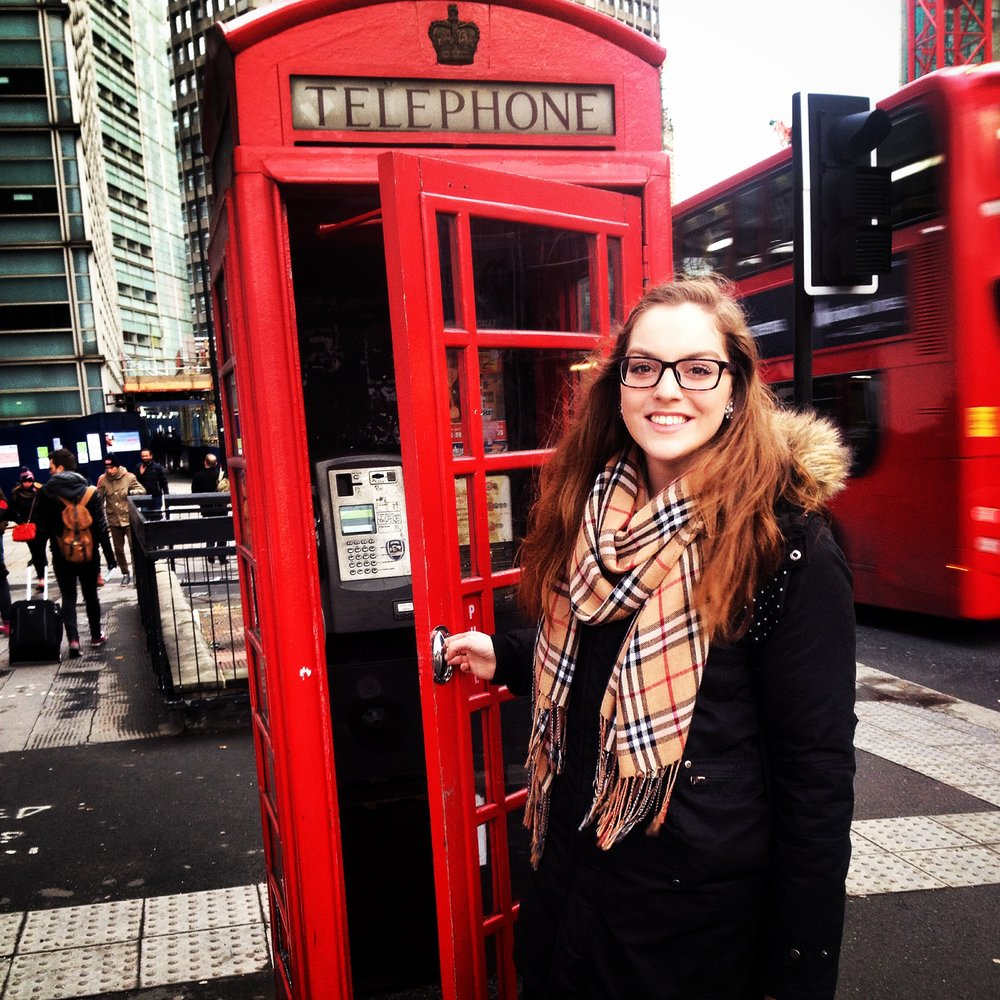 Kaitlyn at Red Phone Booth | Tall Girl Meets World