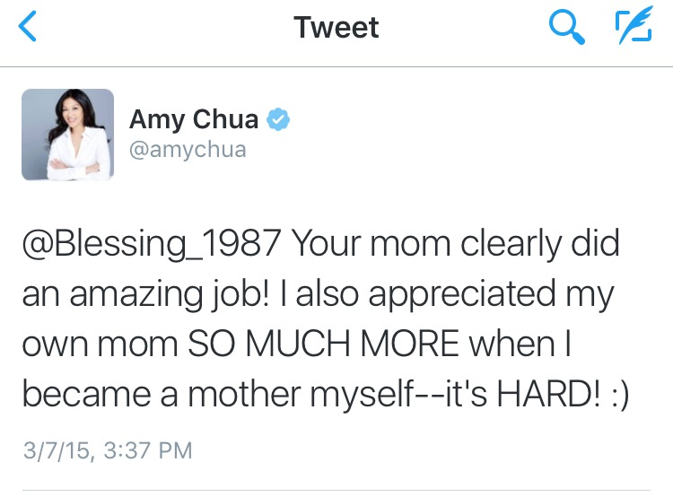 Bibliophile moment: Getting to chat with Amy Chua on Twitter after reading her book.