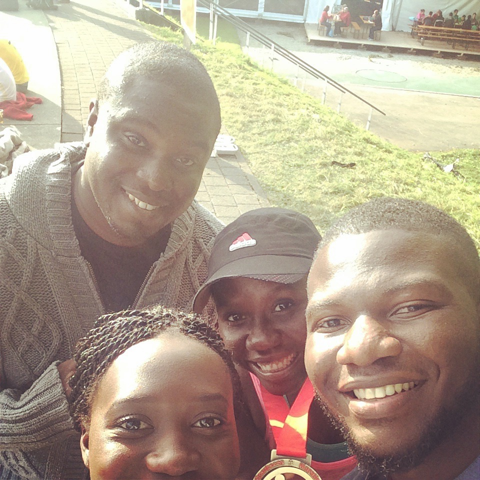 My sister and her boyfriend flew in from Nigeria to support me! My then-fiancé (now husband) took time off from his MBA program in England and drove us from Geneva to Germany!