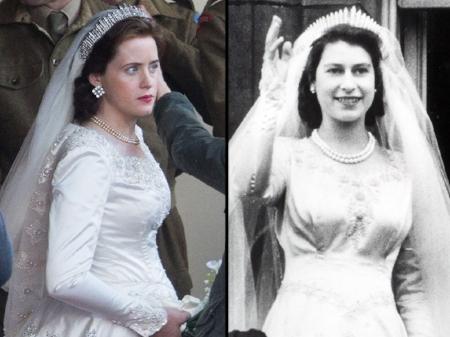 Netflix spent £30,000 on an exact replica of then Princess Elizabeth's wedding dress.Photo Credit: cleartalk.mplore.com