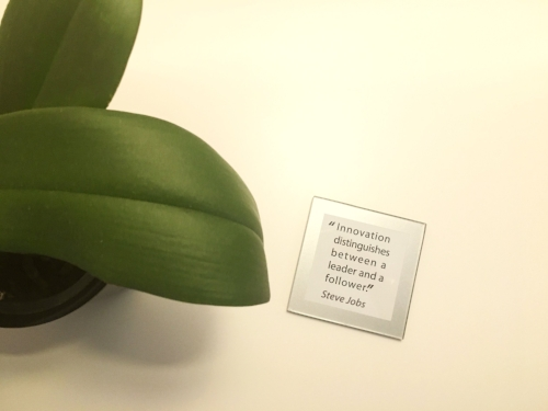 Plant and quote by my bedside in my Møller Centre bedroom.