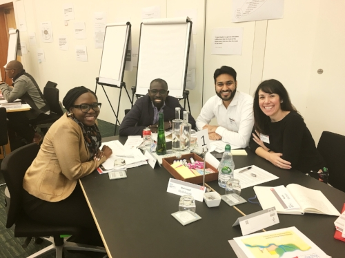 With my inspiring case study team. Represented on this table: Nigeria, Kenya, India and Wales. Not pictured: Our team mate from Egypt.