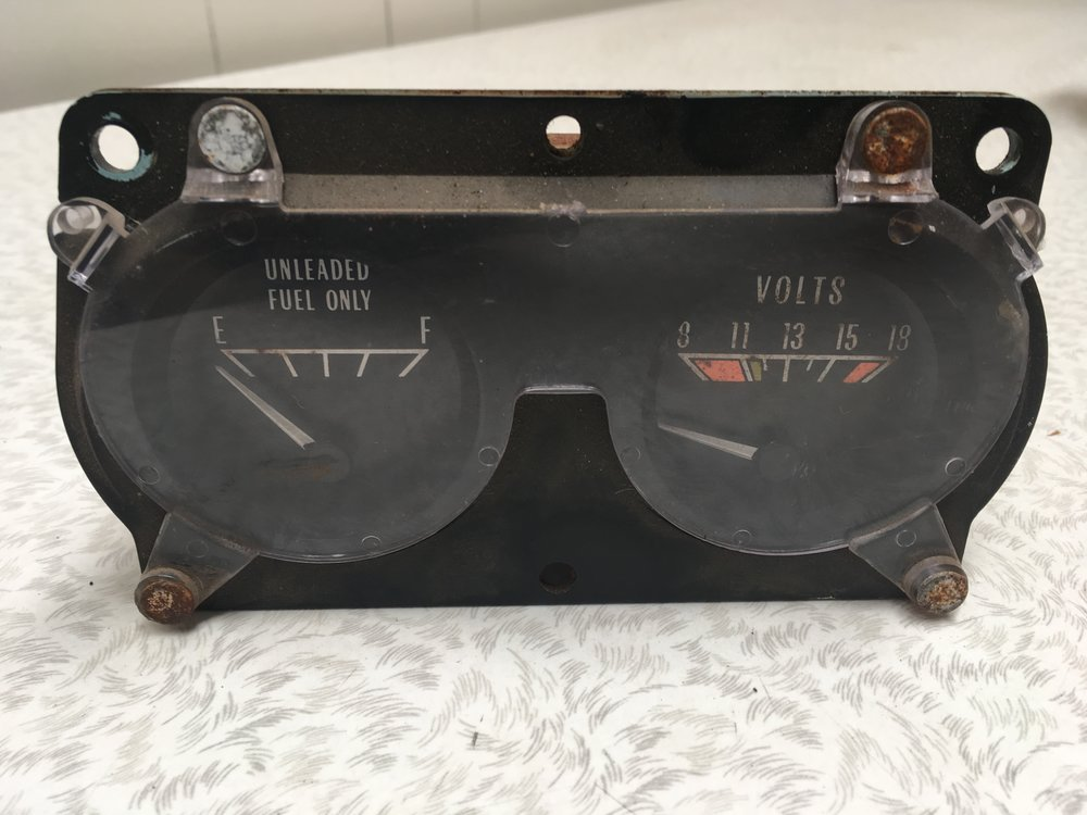 Fuel & Volts Cluster - Front BEFORE restoration