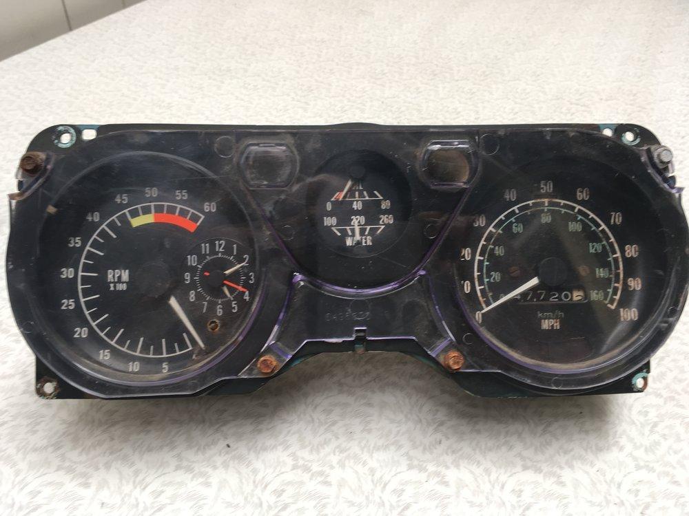 Speedometer & Tachometer Cluster - Front BEFORE restoration