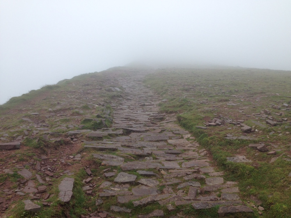 View (or rather lack of view!) on the ascent to Corn Du.