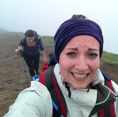 Attempting a smile near the summit despite being faced with gale force winds. First-time-friend behind, quite possibly regretting telling me she wanted to climb a mountain before the year was out.