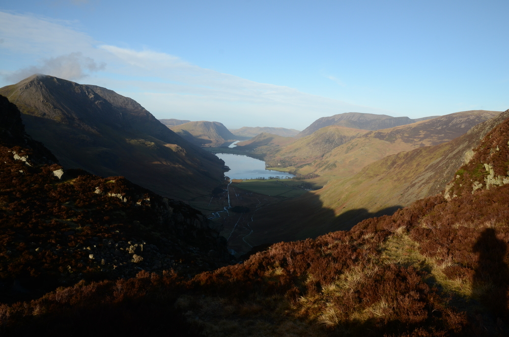 Looking down towards Buttermere and Crummock Water from the path to Haystacks, Photo credit,  Laurie Crayston