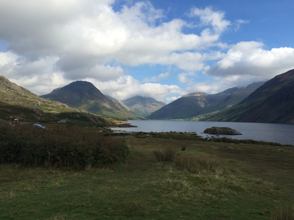 from the shores of Wastwater (L to R) - Yewbarrow, Great Gable & Scafell range