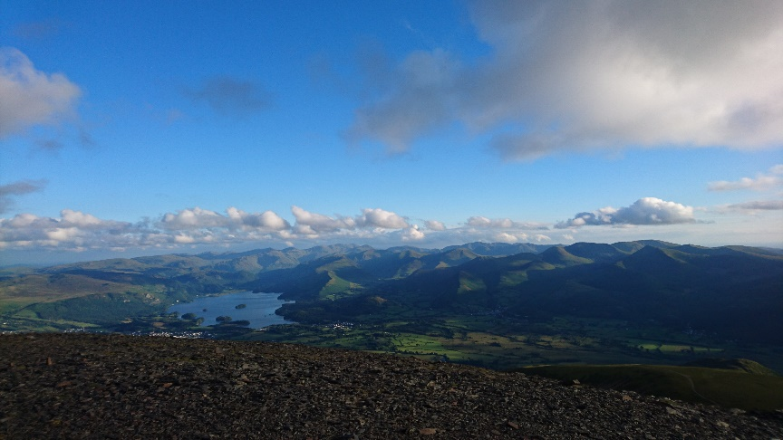 The view from Skiddaw of Keswick and beyond.