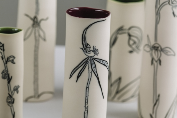 2 Orchids: Black Mountain, detail, 2015. Porcelain, wheel-thrown, ink inlay, up to 35h x 6w cm. Image: Art Atelier-Andrew Sikorski