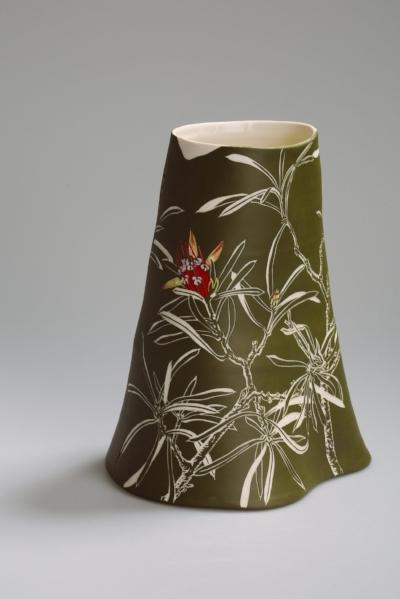 Cathy Franzi, Mountain Devil , 2016. Porcelain, 29.7h x 24.5w x 21d cm. Image: Art Atelier