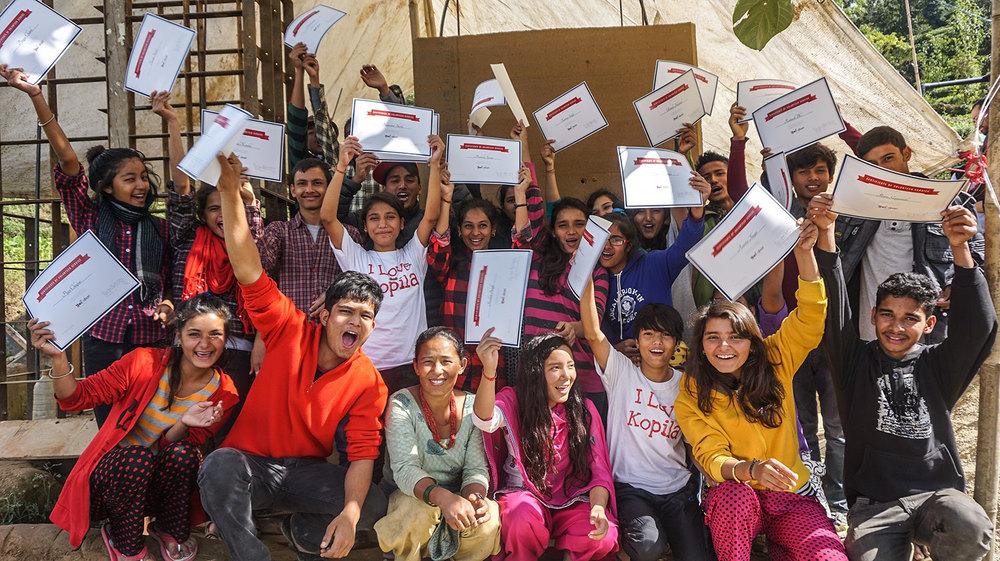 Volunteers from Kopila Valley School   Aashish Bhandari Bimal Kandel Chhabilal Shahi Karandhoj Rawal Keshav Shahi Navraj Giri Ram Gayanali Ramesh BC Sangeet Gurung Sumin Shrestha Surya Pokhrel  Asha Shahi Asmita Thapa Bhawana Shahi Bina Thapa Bindu Shahi Goma Sunar Karma Singh Kopila Koirala Pramila Sunar Puja Chapai Pragya Chand Roshni Singh Sunita Nepali Urmila Hamal  -- Photos by : Brianna Bussinger