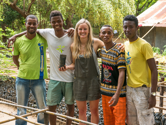 Sophie with some of the reforestation employees of the dry deciduous nursaries