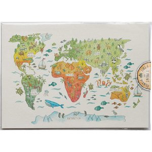 Kids World Map Art Print P A3 131 Little Difference Uk