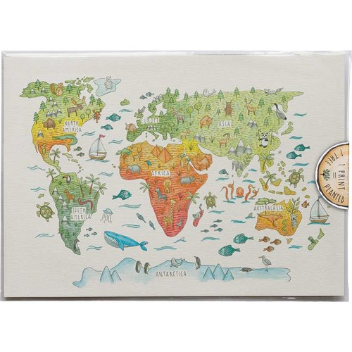 Kids World Map - Art Print #P-A3-131 — Little Difference UK