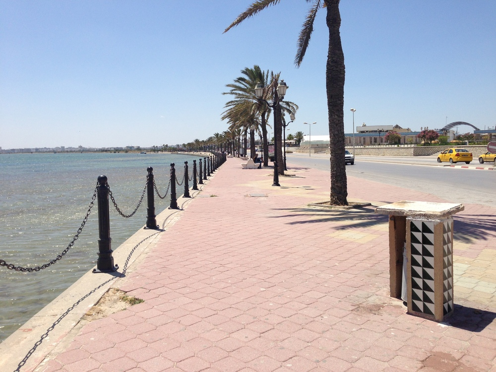 Walking along Lake Tunis.