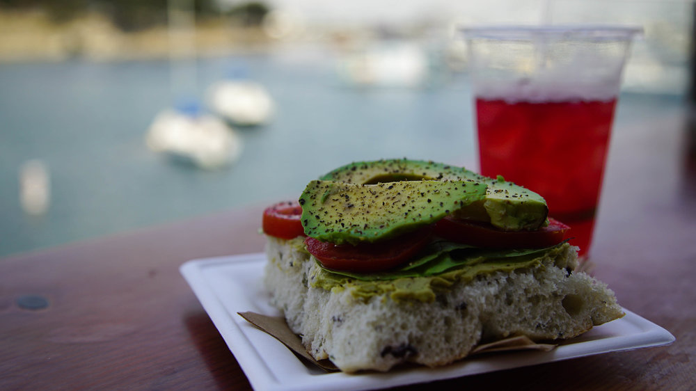 Avo Toast with Bay View at Water and Leaves in Monterey