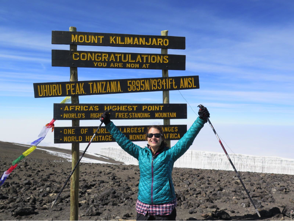 Mount Kilimanjaro at the top of the summit Anne Foss Tanzania Travel Women