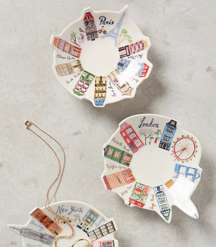 Best Holiday Gifts for Women who love travel Paris London New York dishes Anthropology