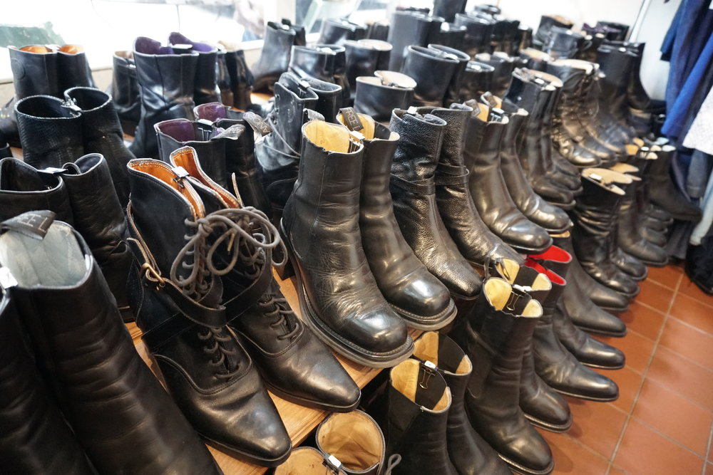 Leather vintage boots at Malin Landaeus Best Vintage Clothing Stores in Williamsburg Brooklyn NYC, The Travel Women
