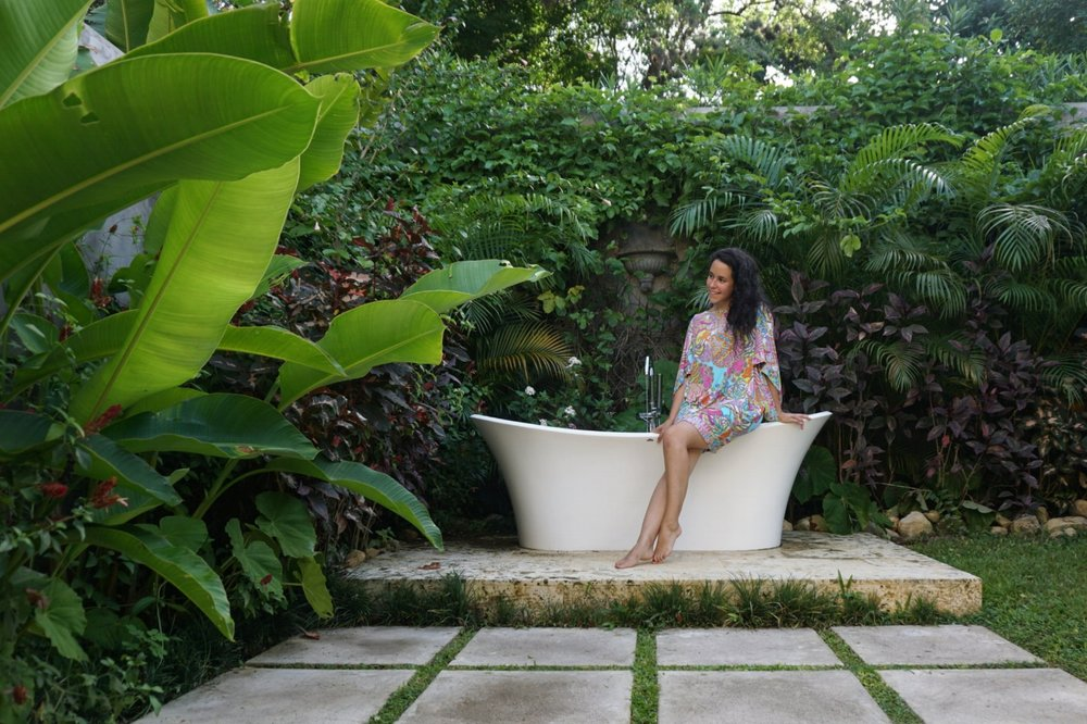 Bluefields Bay Villas Jamaica Resort Review The Travel Women outdoor bathroom bathtub goals banana leaves