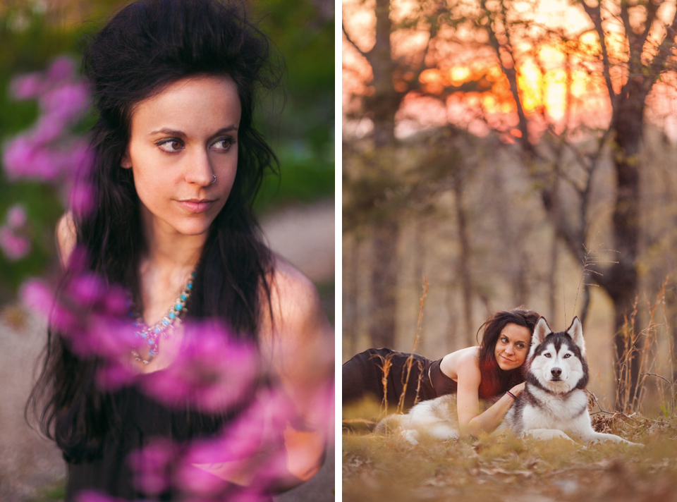 Portrait Session by Hatch And Maas Collective in Shaddox Hollow, Arkansas with Siberian Huskys