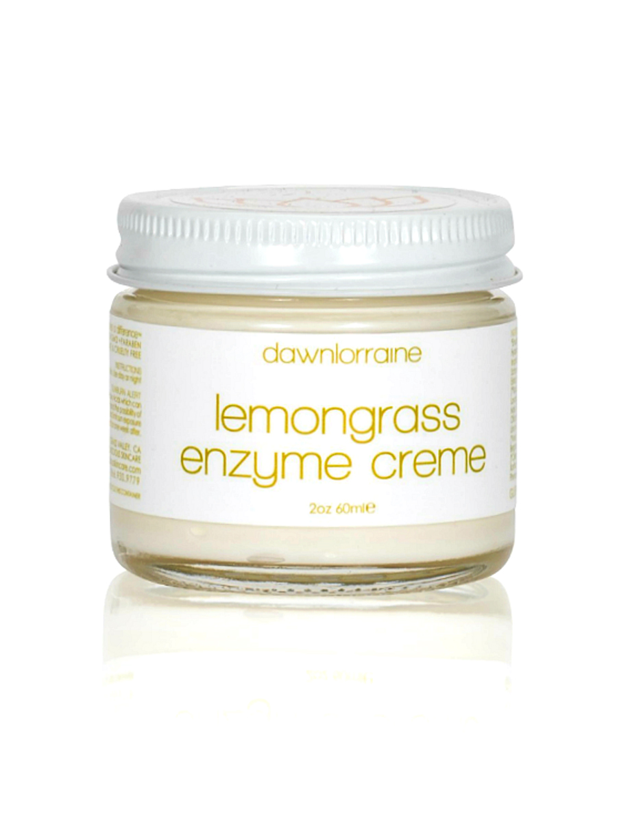 LEMONGRASS ENZYME CREME - EARTH DAY BEAUTY AWARD WINNER FOR BEST LIGHTENING PRODUCTBRIGHTENING, SMOOTHING, REJUVENATINGGLUTEN, DAIRY & SOY FREERejuvenating night time treatment for tired skin.KEY INGREDIENTSFruit Acids / Papaya & Pumpkin Enzymes / Willow Bark (salicylic acid )/ Lemon Balm / Ginseng/ Anise / Horseradish/ Shisandra/ Kojic AcidCLICK HERE TO VISIT WEBSITE