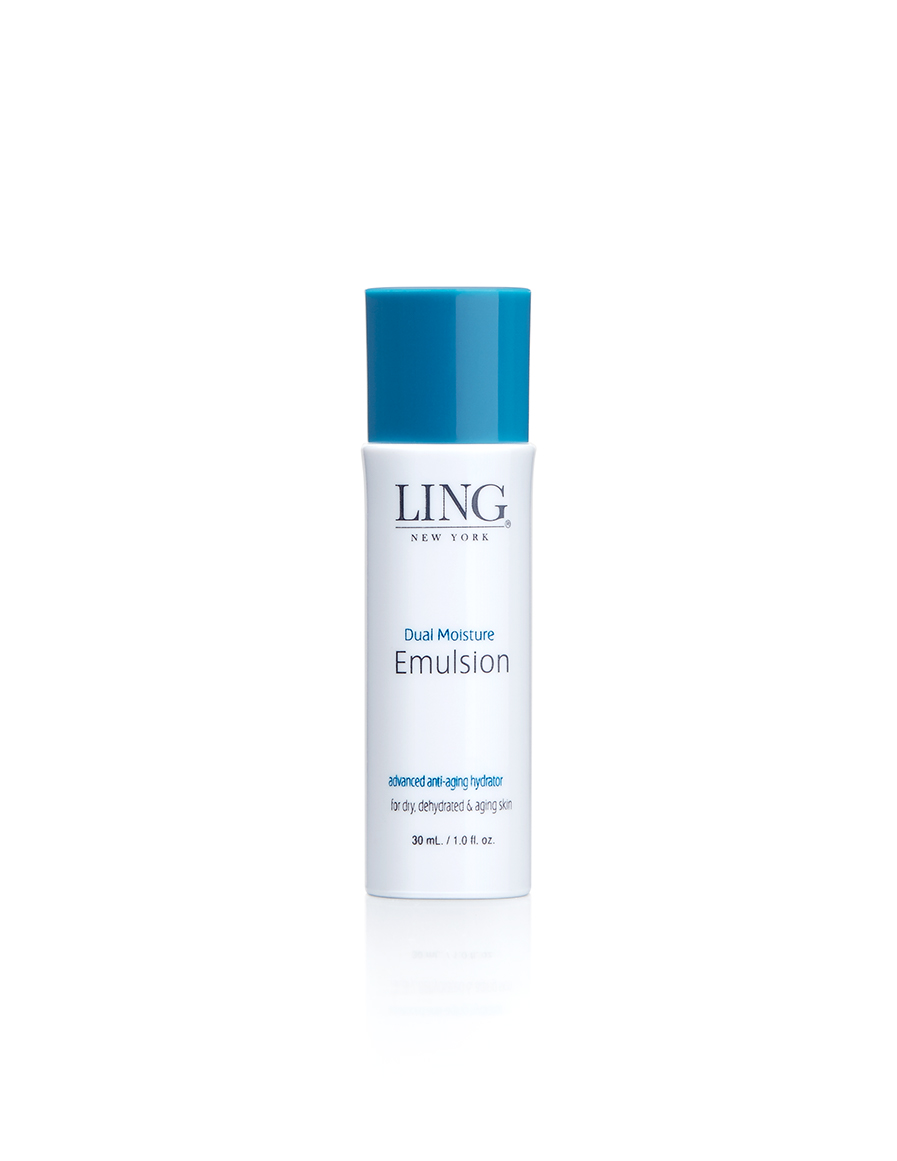 LING Dual Moisture Emulsion - State-of-the-Art ingredients meet Asian beauty secrets in this advanced hydrating emulsion specially formulated to deliver dual layers of vital moisture. Lower levels of the skin are thoroughly hydrated with Hyaluronic Acid while the skin's surface is softened with a nourishing Squalane Oil.Recommended for dry & dehydrated & aging skin types.