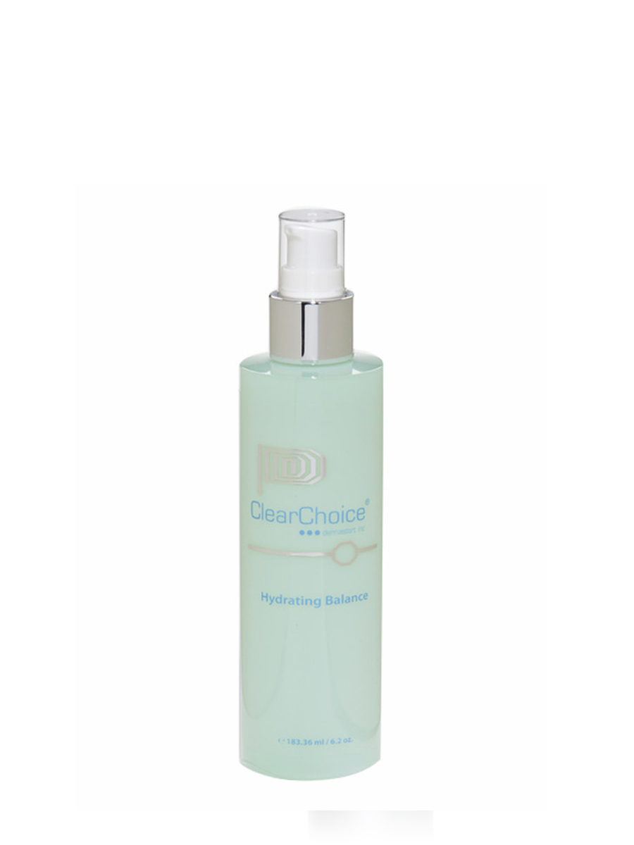 ClearChoiceHydrating Balance - FOR PROFESSIONAL USE ONLY. Helps restore skin to it's normal pH level. Formulated for all skin types. Superior for sun and wind burns.Hydrating Balance is formulated for all skin types and gives a refreshing boost of rejuvenation. It helps to prolong makeup and refreshes dehydrated skin from excessive exposure to heat and wind.